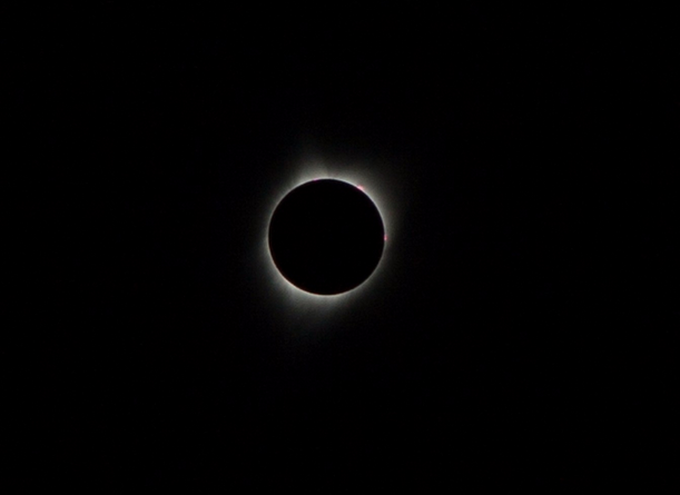 During eclipse totality Mon. Aug. 21, 2017 in Shoshoni, Wyoming, the moon is blocking the sun which made the corona vivid.