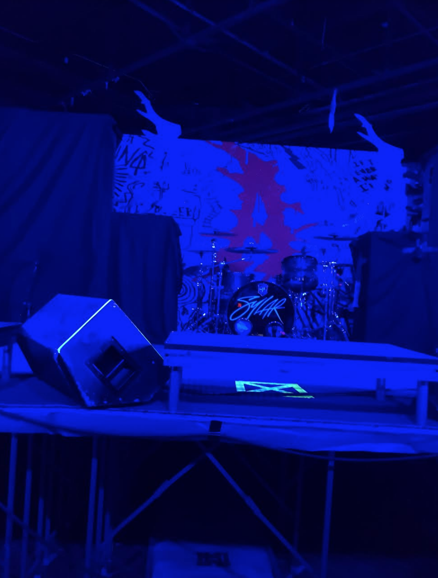The stage at The Pub Station before the Concert