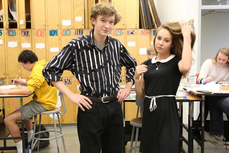 Gus Birky and Riley Smith rock 90's style in art class