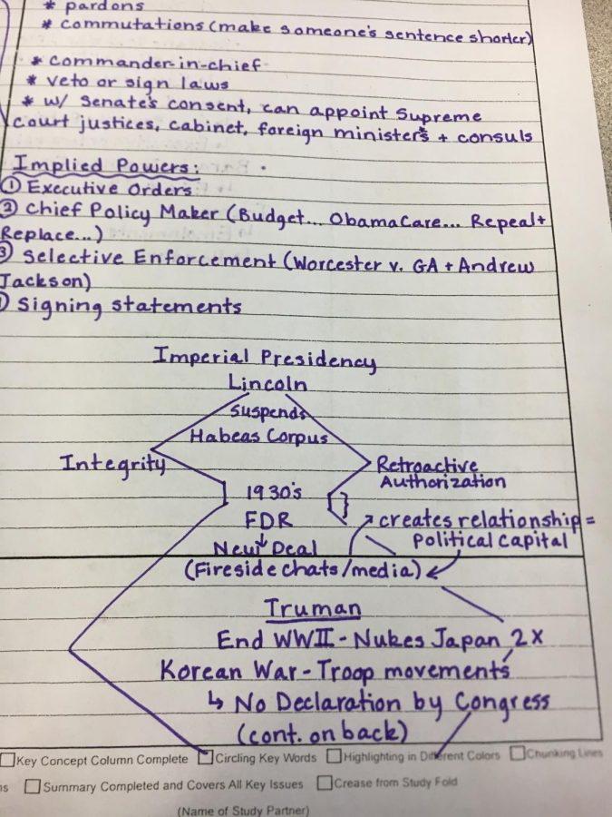 Baylee Stafford's notes on imperial presidency from her government class taught by John Corbin.
